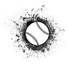 Grunge Ink Blots Background With Outline Baseball Symbol