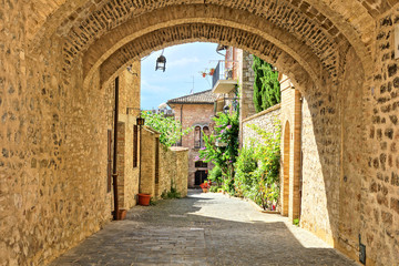 Panel Szklany Uliczki Medieval buildings of the old town of Assisi through a picturesque stone arch, Italy