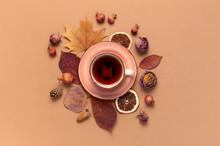 Autumn Flat Lay Composition. C...