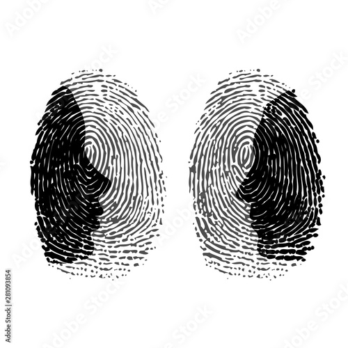 Fotografia Two fingerprints with man and woman face silhouettes