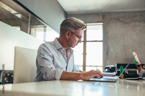 Canvas Prints Akt Businessman working at his desk