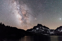 Stars And The Milky Way Over The Mountain And Lake