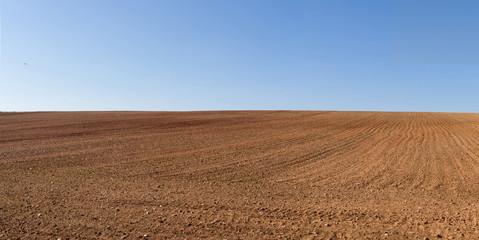 Vista panorámica de loma de  terreno agricola  arado recientemente y preparados para el cultivo y cielo azul