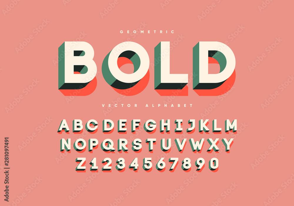 Fototapeta Bold retro font with numbers. Trendy 3d alphabet. Eps10 vector.