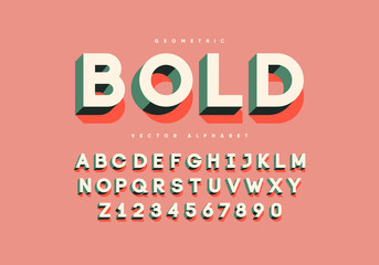 Bold retro font with numbers. Trendy 3d alphabet. Eps10 vector.