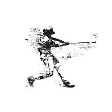 Baseball Player Hits Ball, Abs...