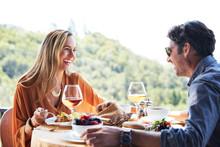Couple Having Brunch At Restaurant In Napa Valley, CA