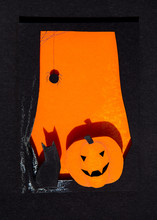 Paper Halloween Window With Bl...