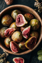 Overhead View Of Figs In Bowl