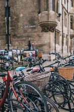 Bikes Parked In The Old Town In England.