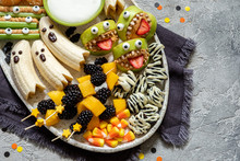 Healthy Fruit Halloween Treats.