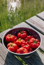Vine Ripe Heirloom Tomatoes In Bowl