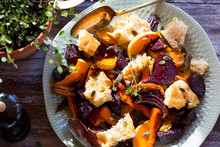 Salad Of Warm Roasted Autumn Vegetables And Bread