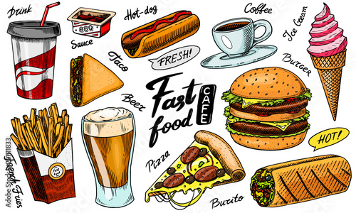 Photographie Fast food, burger and hamburger, tacos and hot dog, burrito and beer, drink and ice cream