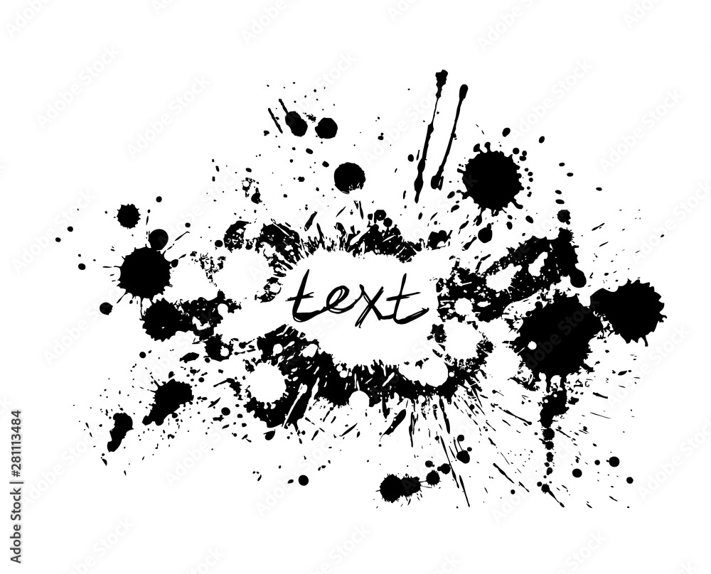 Fototapeta Black spots of paint on a white background. Vector