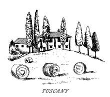 Tuscany. Italy. Rural Landscape. Vintage Design Sketched Vector