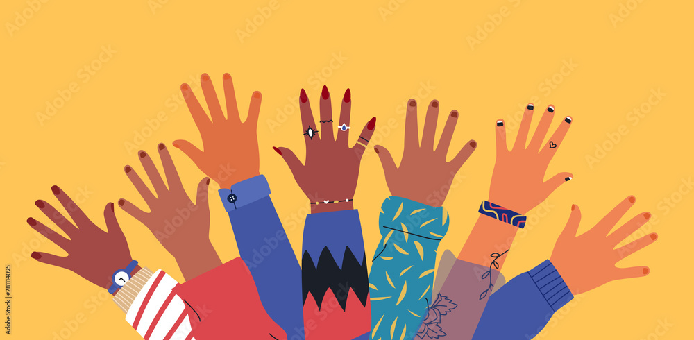 Fototapeta Diverse young people friend hands raised together