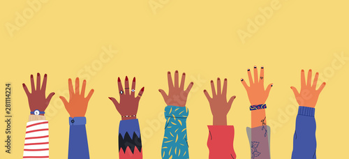 Diverse young people hands on isolated background Wallpaper Mural