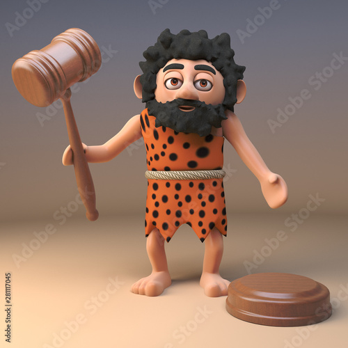 Photo Cartoon 3d caveman holding auctioneers gavel, 3d illustration