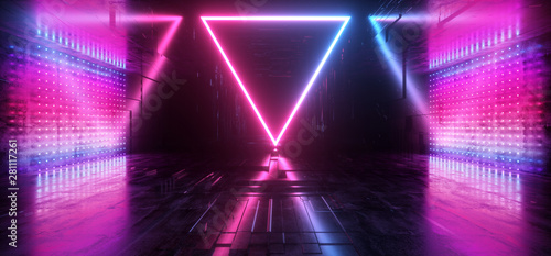 Cuadros en Lienzo Triangle Shaped Neon Glowing Laser Purple Blue Futuristic Sci Fi Modern Retro Al