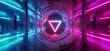canvas print picture - Studio Sci Fi Neon Glowing Triangle Sphere Circle Gate Portal  Gradient Purple Blue Retro Alien Spaceship Reflective Motherboard Texture Chip Empty Background Spaceship 3D Rendering
