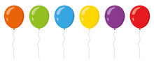 Colored Balloons In Flat Style...