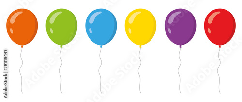 Obraz na plátně Colored balloons in flat style set . Vector