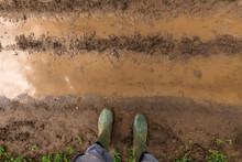 Farmer In Rubber Boots Standin...