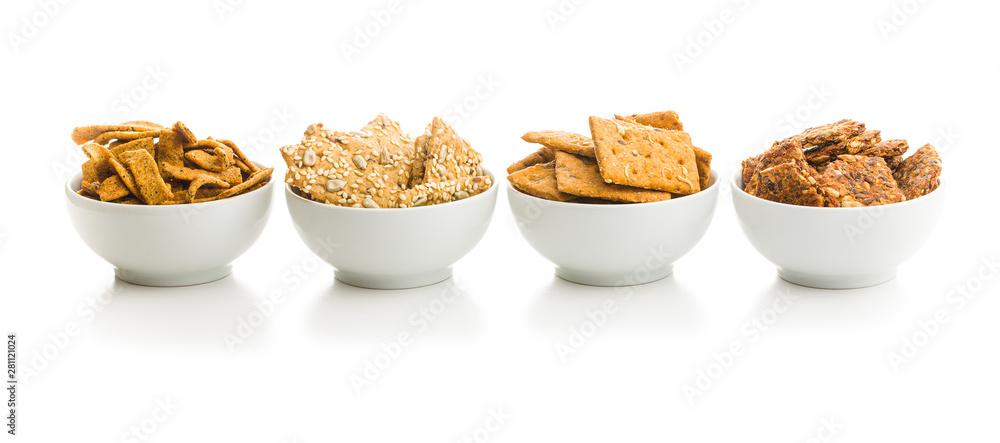 Fototapeta Salted crispy crackers.