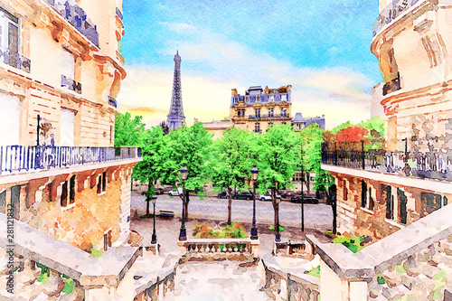 Fotografia  Beautiful Digital Watercolor Painting of the steets of Paris, France with the Eiffel Tower in the background