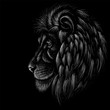 The Vector logo lion for tattoo or T-shirt  print design or outwear.  Hunting style lions background.