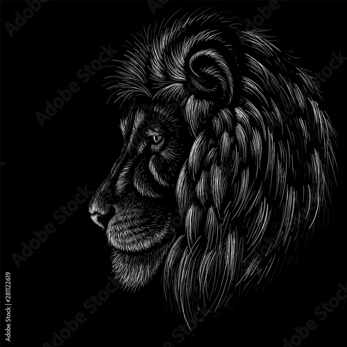Fototapety, obrazy: The Vector logo lion for tattoo or T-shirt  print design or outwear.  Hunting style lions background.