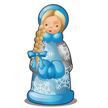 Plastic Or Ceramic Figurine In The Form Of Snow Maiden Isolated On White Background. Sample Of Poster, Party Holiday Invitation, Festive Banner, Card. Vector Cartoon Close-up Illustration.