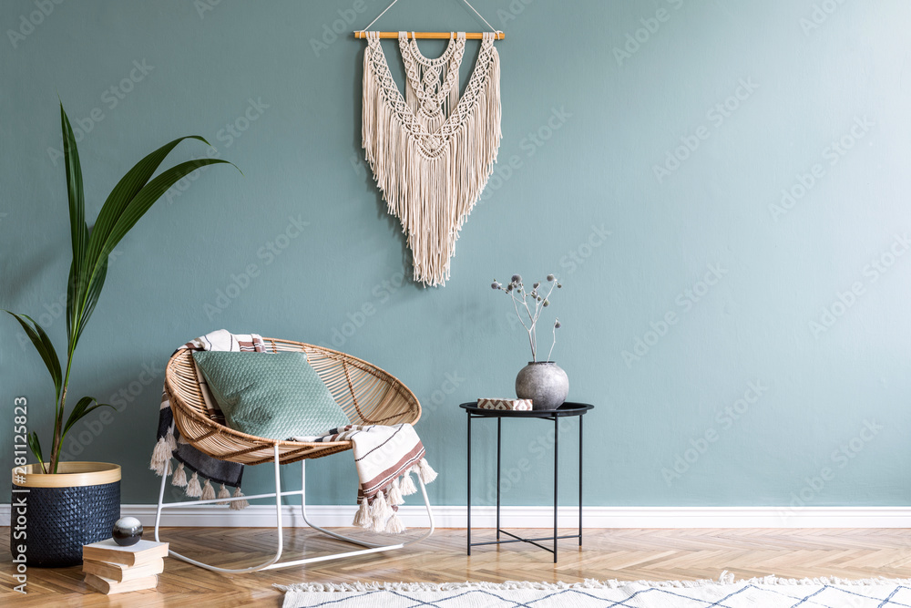 Fototapety, obrazy: Boho style living room with rattan armchair, macrame and exotic plant