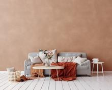 Cozy Scandinavian Interior With Sofa And Minimal Decor,3d Render