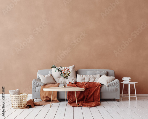fototapeta na lodówkę Cozy Scandinavian interior with sofa and minimal decor,3d render
