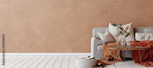 Fototapeta Cozy Scandinavian interior with sofa and minimal decor,3d render obraz