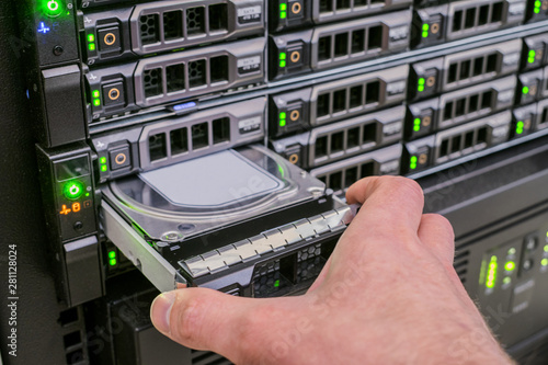 Fotografie, Obraz  There are many disk drives in the web server