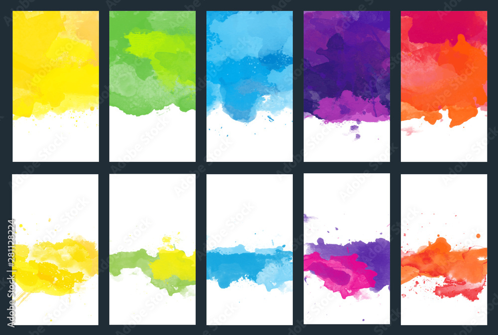 Fototapety, obrazy: Big set of bright vector colorful watercolor background for poster, brochure or flyer
