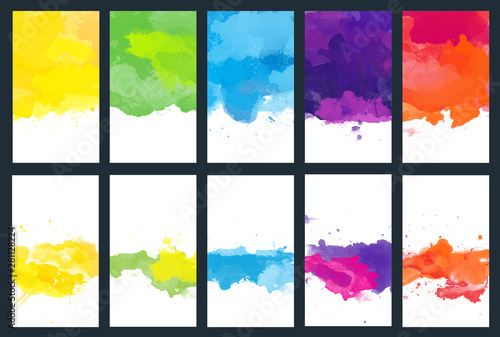 Photo  Big set of bright vector colorful watercolor background for poster, brochure or