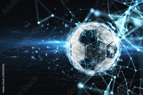 Leinwand Poster Soccer ball with internet network effect. Concept of digital bet