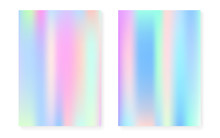 Hologram Gradient Background Set With Holographic Cover. 90s, 80s Retro Style. Pearlescent Graphic Template For Placard, Presentation, Banner, Brochure. Plastic Minimal Hologram Gradient.