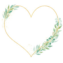 Decorative Botanical Heart Frame Watercolor Raster Illustration