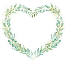 Decorative Floral Heart Shaped Frame Watercolor Raster Illustration