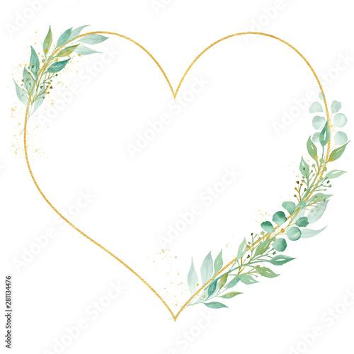 Obraz na plátně  Decorative botanical heart frame watercolor raster illustration