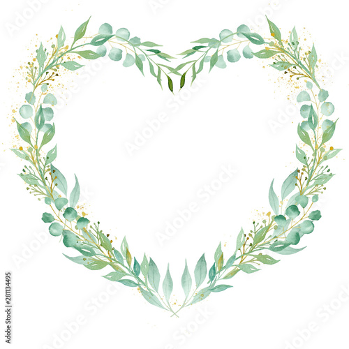 Decorative floral heart shaped frame watercolor raster illustration Wall mural