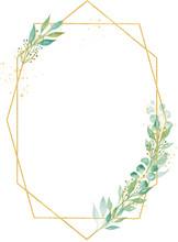 Decorative Minimalistic Oval Frame Watercolor Raster Illustration