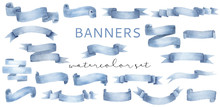 Beautiful Cyan Blue Watercolor Banner Ribbons Set