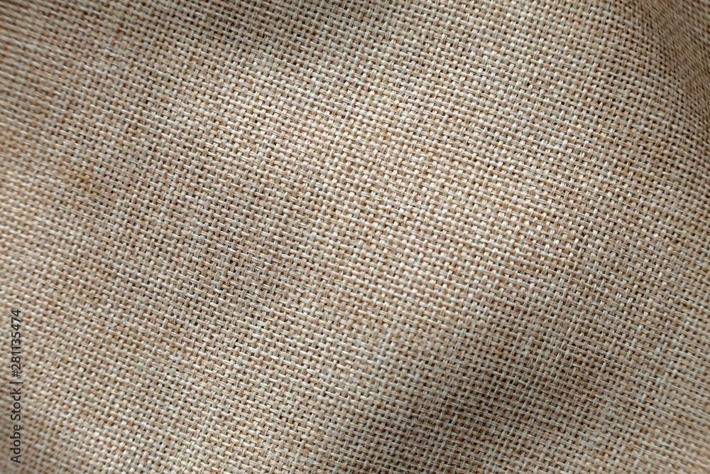 Fototapety, obrazy: Gray beige linen canvas surface background. Sackcloth design, ecological cotton textile, fashionable woven flex burlap.