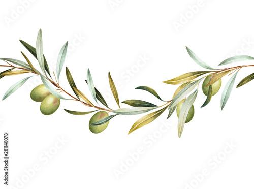 Seamless border of green olive tree branches Fototapeta